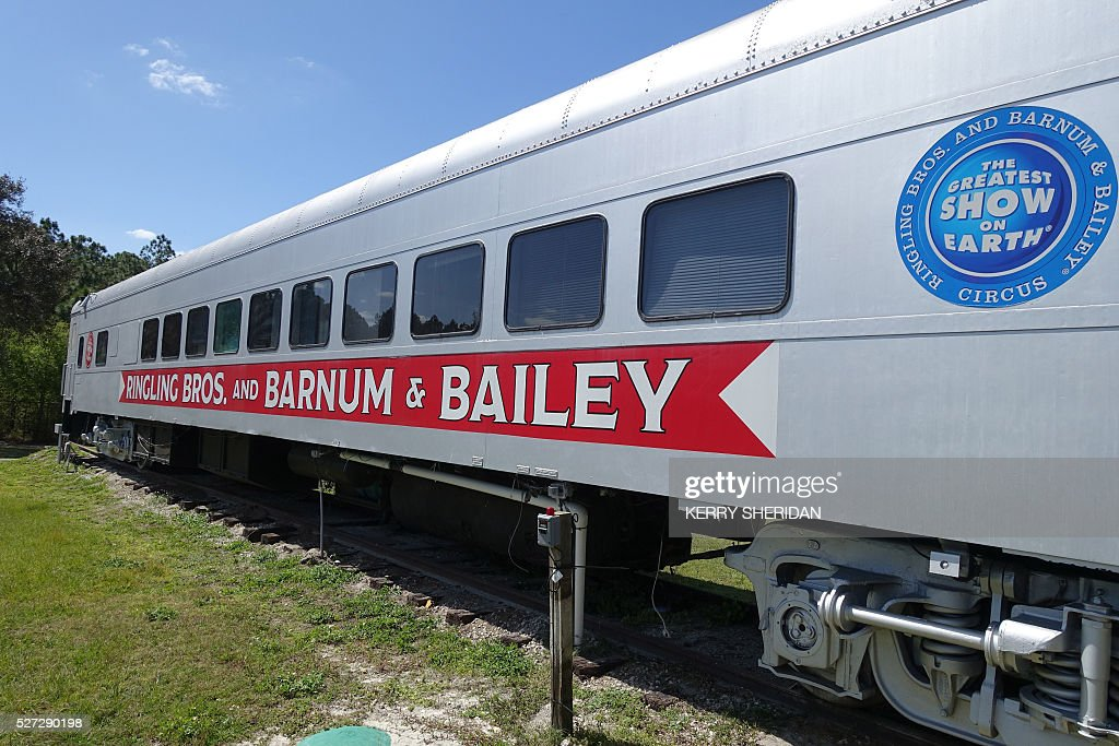 A train car that used to transport elephants from city to city for the circus is parked March 8, 2016 at the Ringling Bros. Center for Elephant Conservation in Polk City, Florida, where the last 11 pachyderm performers are heading for retirement this week. The last 11 elephants performing with the Ringling Bros. circus had their last show May 1, 2016. / AFP / Kerry SHERIDAN / TO GO WITH AFP STORY BY KERRY SHERIDAN-'Circus elephants' retirement home promises pampered life '
