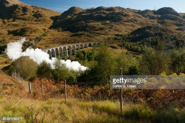 Train crosses bridge leaving smoke behind