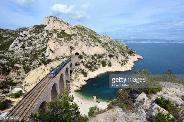 Train Crosses Viaduct on the Côte Bleue or Blue Coast west of Marseille