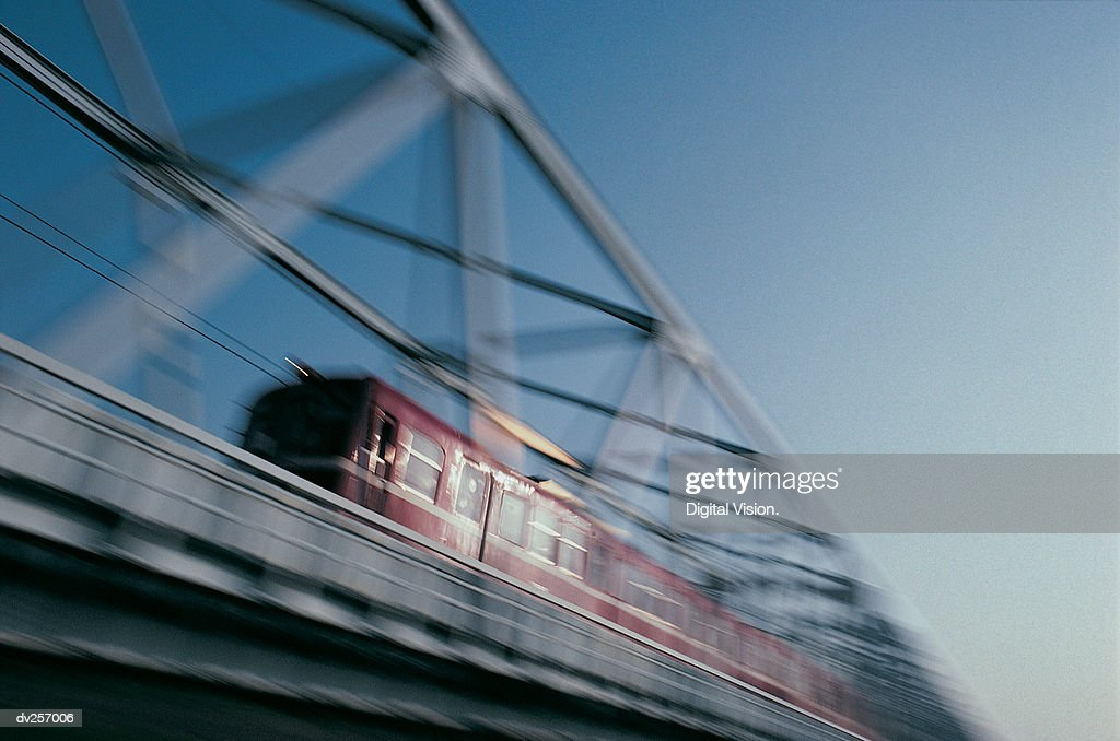 Train crossing bridge : Stock Photo