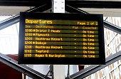 Train departure board in Paddington station London