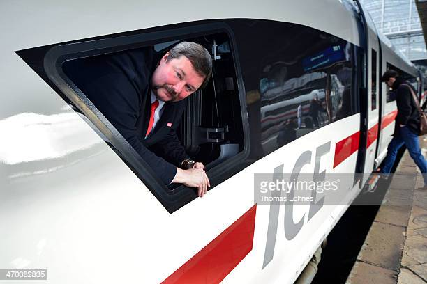 Train driver HansPeter Haas looks out of the window of the latest generation of the ICE 3 Deutsche Bahn highspeed train version 407 during a media...