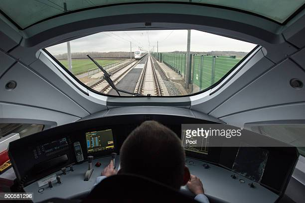 Train driver Stefan Baumgart in the cockpit of a highspeed ICE train of German state rail carrier Deutsche Bahn as it travels on the newlycompleted...