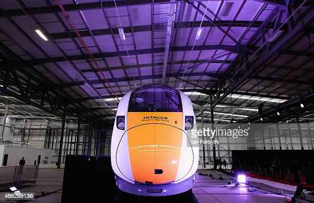 A train engine especially brought over from Japan stands centre stage during the opening of Hitachi Rail Europe's rail vehicle manufacturing facility...