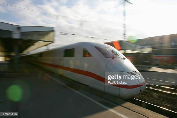 A train engine of an ICE is seen during the German locomotive drivers union strike at the Essen central station on November 15 2007 in Cologne...