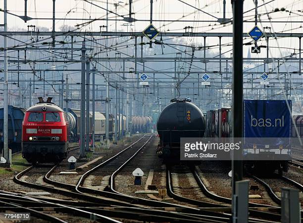 Train engines from the german logistic carrier 'railion' park at the train station in VenloNetherlands on 16 November 2007If the strike remains they...