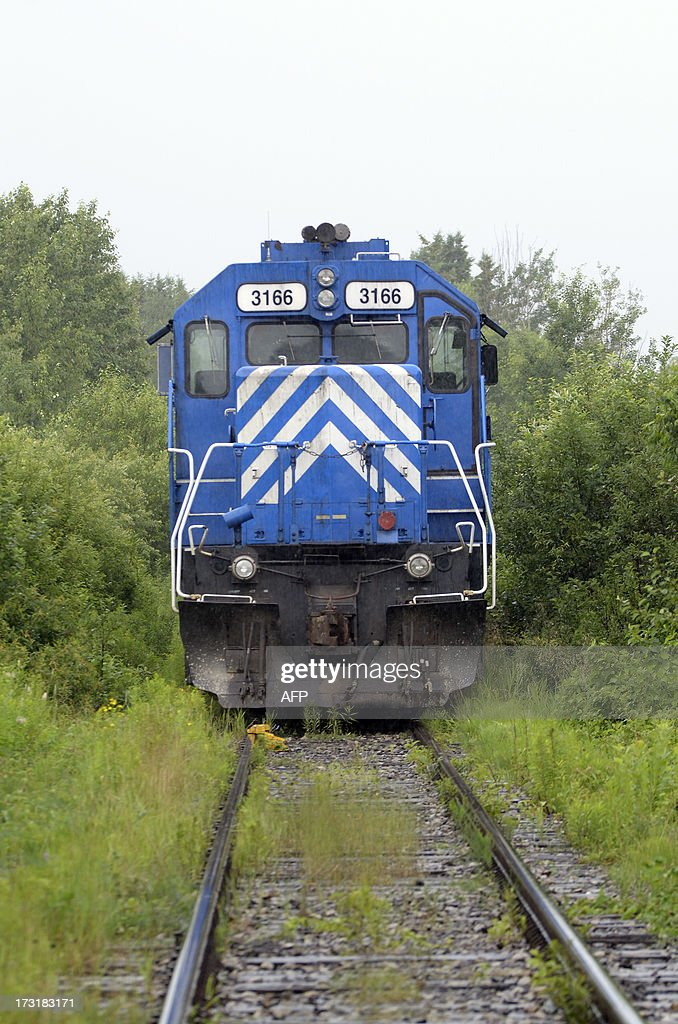 A train from the MMA railway is viewed as it was stopped by the RCMP and considered as a piece of evidence on July 9 2013 near Lac Megantic Quebec...