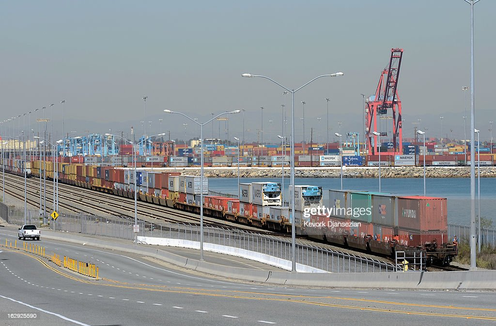 A train full of containers makes its way out of the Port of Los Angeles on March 1, 2013 in Los Angeles, California. Reports say that teh across the board sequestration budget cuts could slow movement of goods through U.S. ports.