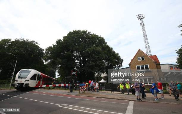 A train goes past the stadium during the UEFA Women's Euro 2017 match between Iceland and Switzerland at Stadion De Vijverberg on July 22 2017 in...