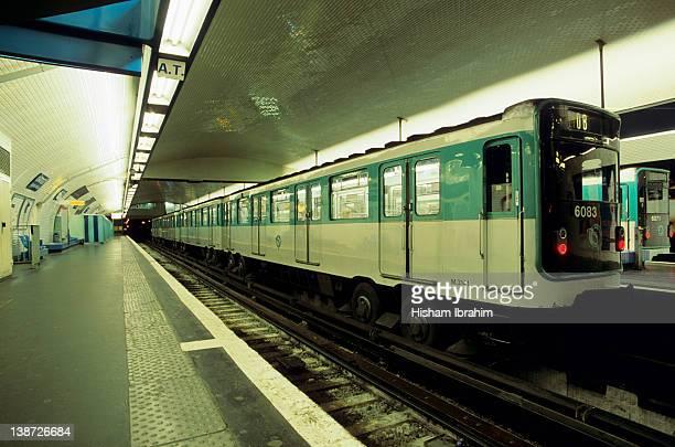 Train in Metro Station, Paris, France