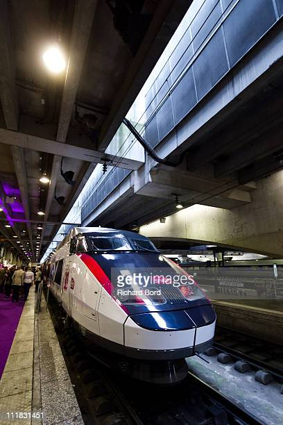 TGV train is displayed with the 30 years anniversary livery at Gare Montparnasse on April 7 2011 in Paris France French train company SNCF are...