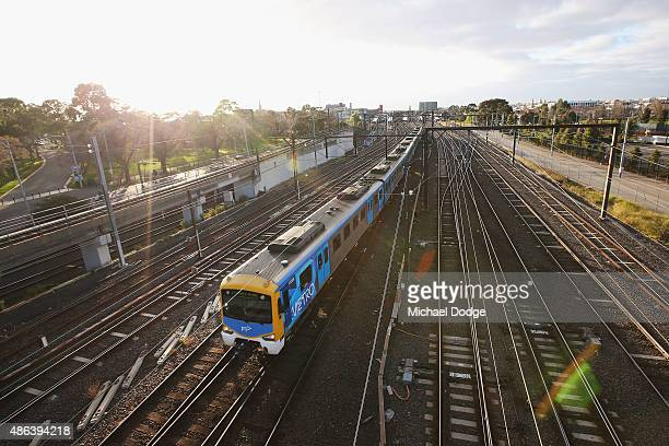 Train is seen leaving Richmond station on September 4 2015 in Melbourne Australia The strike over pay and conditions by Rail Tram and Bus Union...