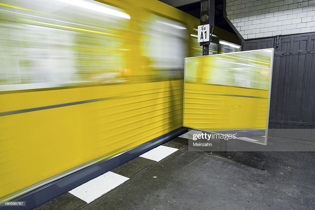 train leaves the underground station : Stock Photo