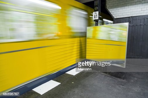 train leaves the underground station : Stock Photo