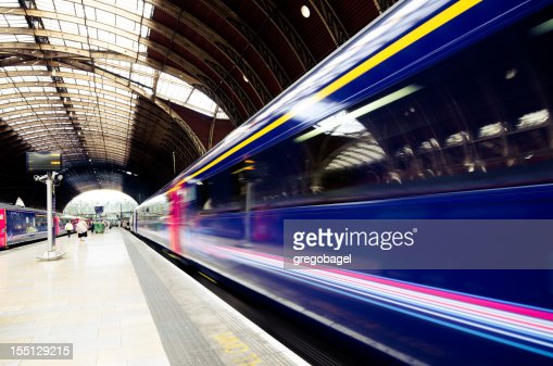 Train leaving Paddington Station in London, England