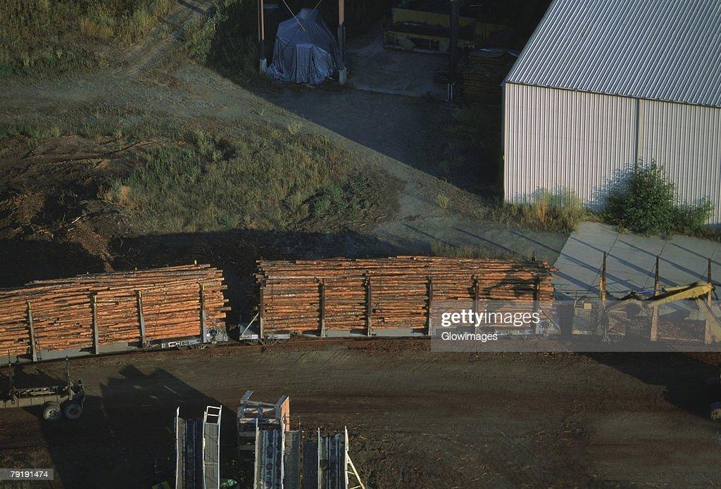 Train load of logs from a sawmill, Idaho : Foto de stock