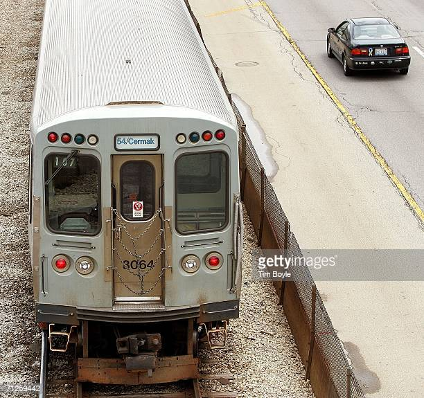 train moves along the Kennedy Expressway June 21 2006 in Chicago Illinois The American Public Transportation Association estimates 14 million...