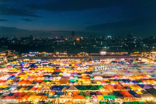 Train night market in Bangkok