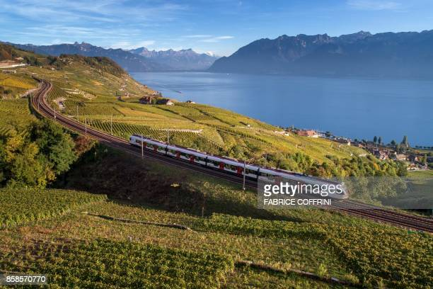 A train of Swiss Rail company makes its way in the UNESCO World Heritage Site of Lavaux with its terraced vineyards above Lake Geneva on October 5...