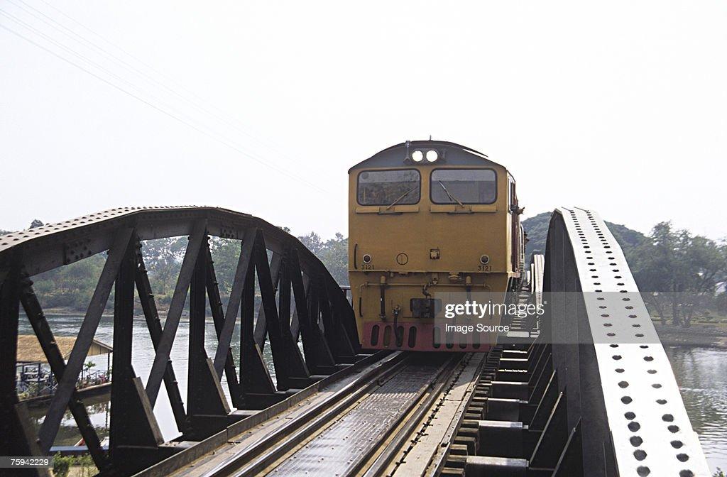Train on bridge over river kwai : Stock Photo