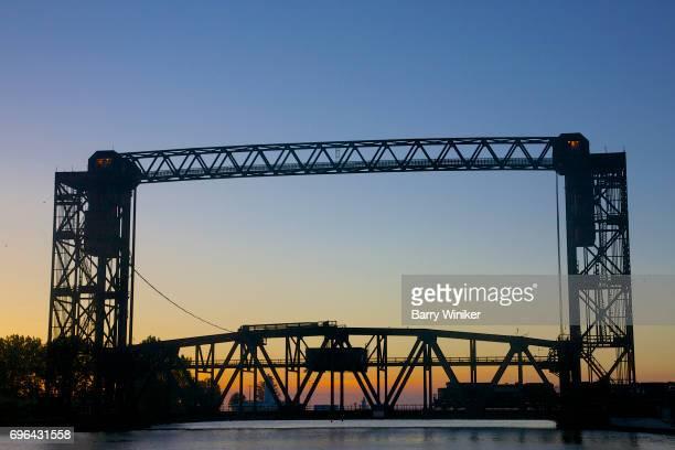 Train on lift bridge, Cleveland