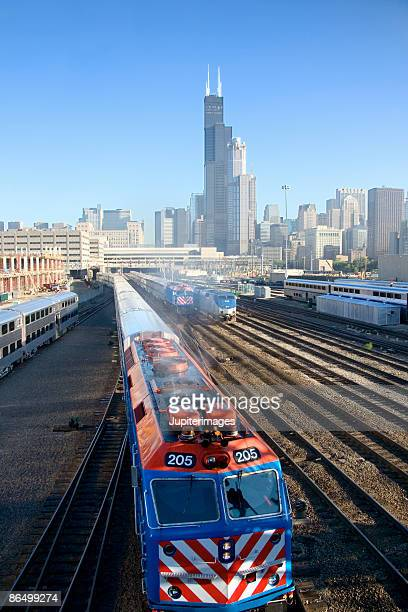 Train on railroad tracks near downtown Chicago