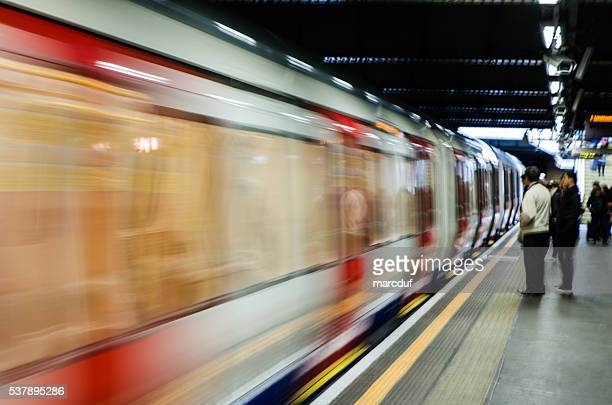 Train passing by in the London Subway station