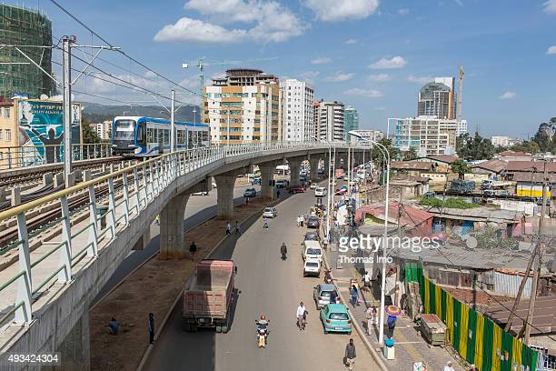 Train path of lighttrain street car on October 12 2015 in Addis Abeba Ethiopia