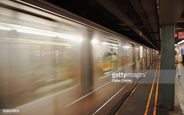 Train races through the NYC subway, USA
