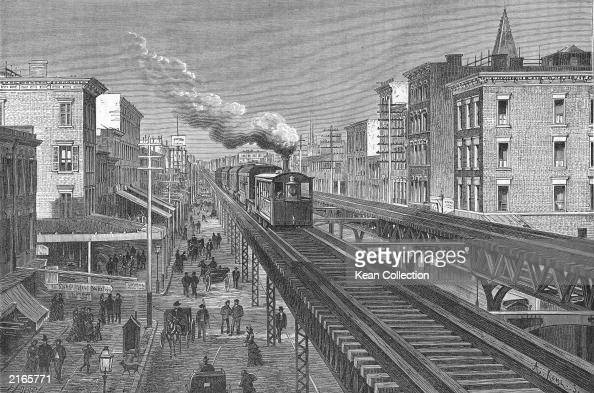 Train rides over double tracks of the elevated railway on Seventh Avenue Greenwich Village New York City circa 1880