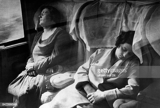 Train rides Women sleeping in the compartment 1931 Published by 'Die Gruene Post' 30/1931 Vintage property of ullstein bild