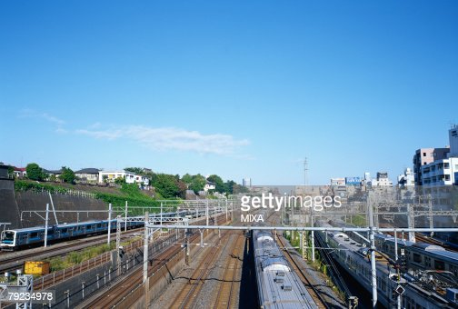 Train running in Tokyo, Japan : Stock Photo