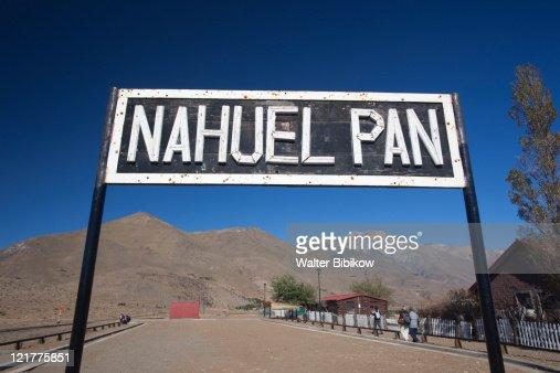 Train sign, Old Patagonian Express at Nahuel Pan station, Chubut Province, Patagonia, Argentina : Stock Photo