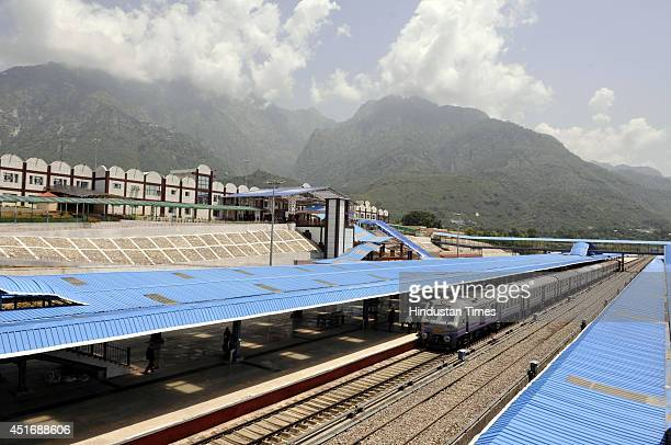Train standing at Katra Railway station after the inauguration of the KatraUdhampur rail link on July 4 2014 in Jammu India Prime Minister Narendra...
