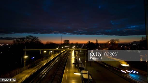 Train station Halfweg during sunrise