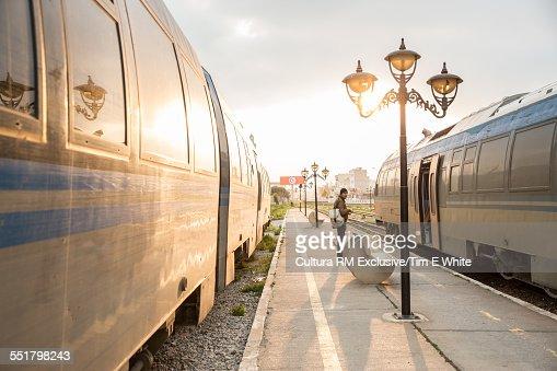 Train station platform at sunset, Nabeul, Tunisia