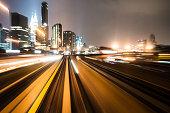 train through moden city