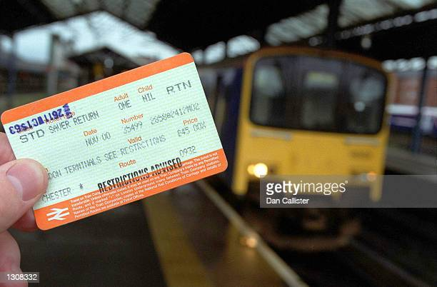 A train ticket posts restrictions for the British rail system December 4 2000 at Chester Station England Due to recent derailments of the trains...