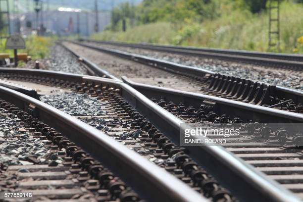 Train tracks are pictured on July 19 near Wuerzburg Germany a day after a young man attacked train passengers with an axe German authorities said...