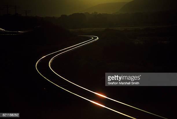 Train tracks at dawn