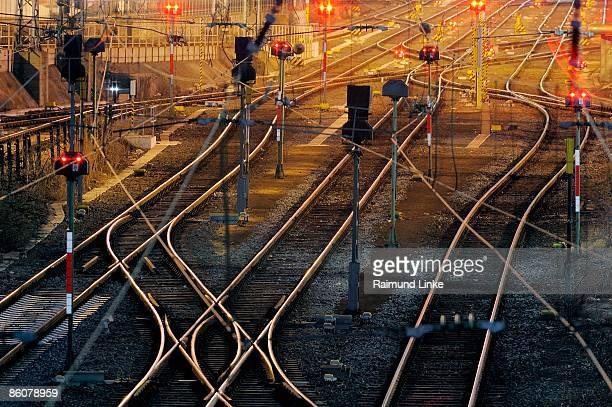 Train tracks at dusk