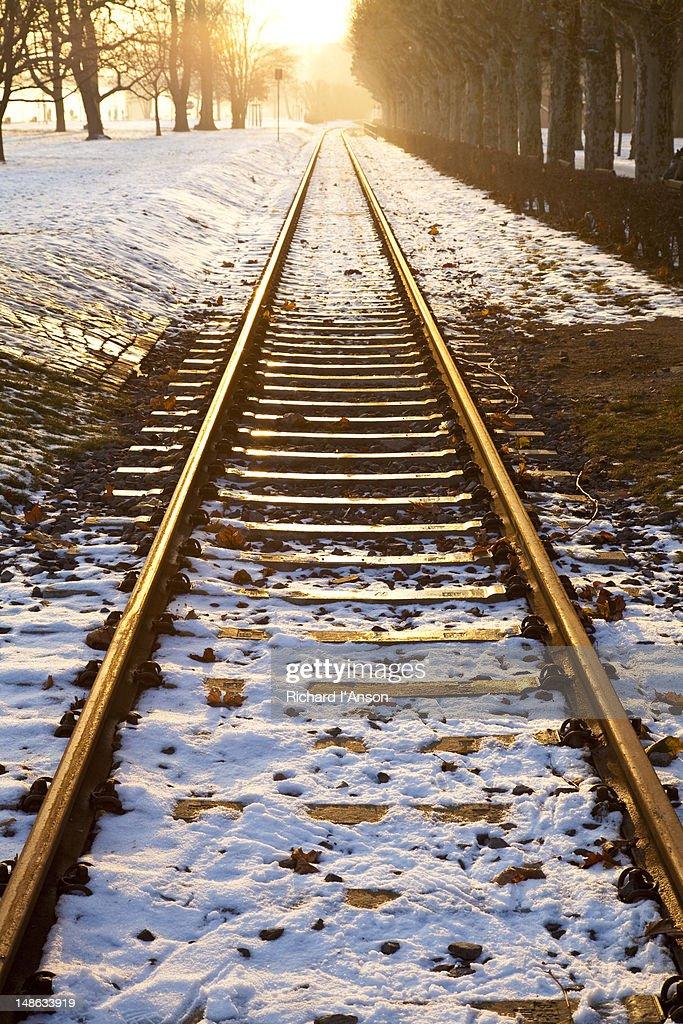 Train tracks in snow in winter. : Stock Photo