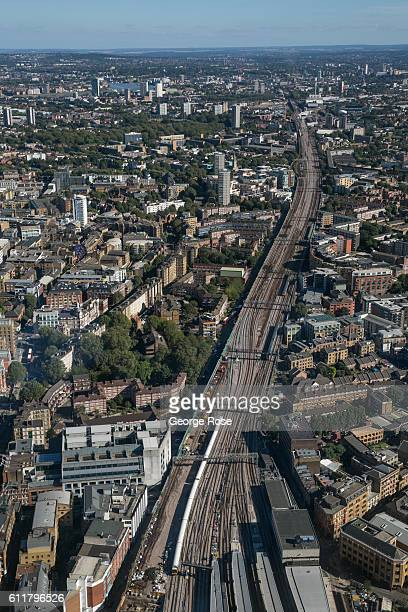 Train tracks leading east from Tower Station are viewed from the observation deck of The Shard on September 11 in London England The collapse of...
