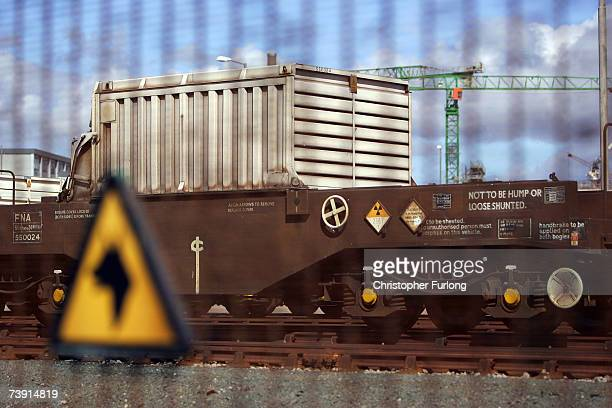 A train used for carrying protective flasks of spent uranium fuel rods sits in sidings at Sellafield nuclear plant on 18 April 2007 in Sellafield...