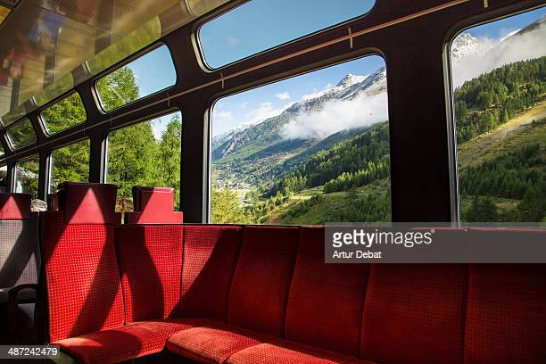 Train  with landscape in window