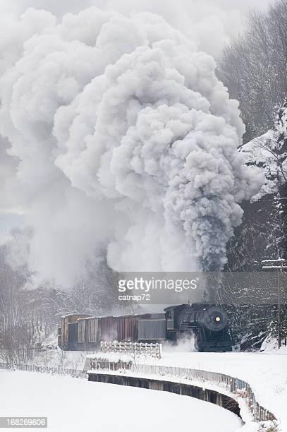 鉄道、蒸気機関車煙寒い冬に雪