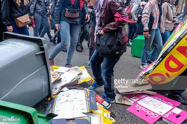 Train workers from different syndicats FO SUD rail _CGT gather in front of gare Montparnasse Paris on 2nd June 2016 and march trough the ministry of...