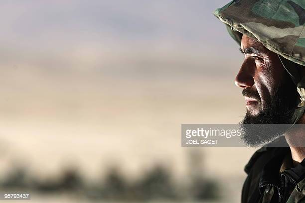 Trainee Afghan National Army officer Amrodin of Badkhan in Darahim province is portrayed during training with the French army within the framework of...