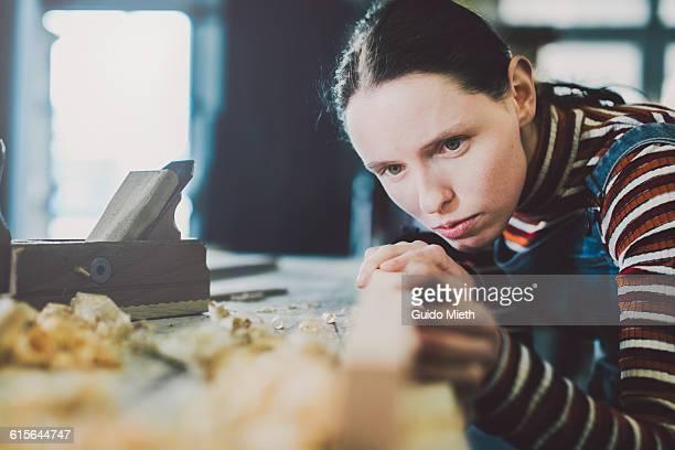 Trainee checking her work.