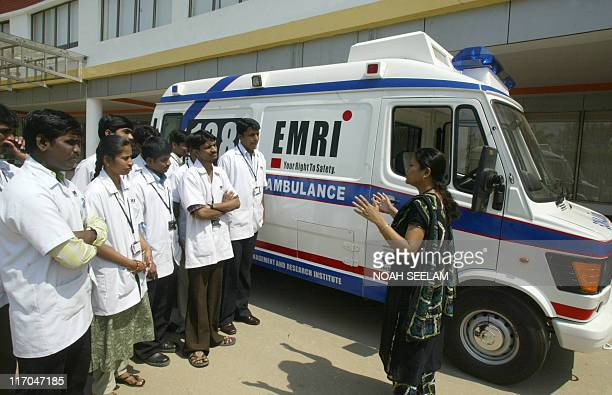 Trainee Indian medical technicians are briefed at The Emergency Management and Research Institute in Hyderabadon February 18 2009 EMRI is the only...